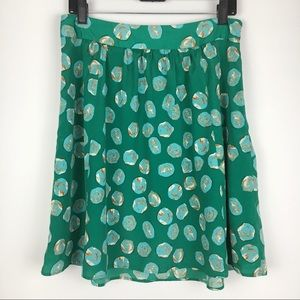 The Limited Green & Blue Marble Dot Skirt Size M